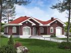 Проект одноэтажного жилого дома с гаражом и террасами